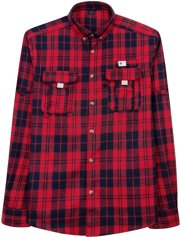 Milin Naco Men's Flannel Casual Shirt Regular Fit Long Sleeve Plaid Shirts