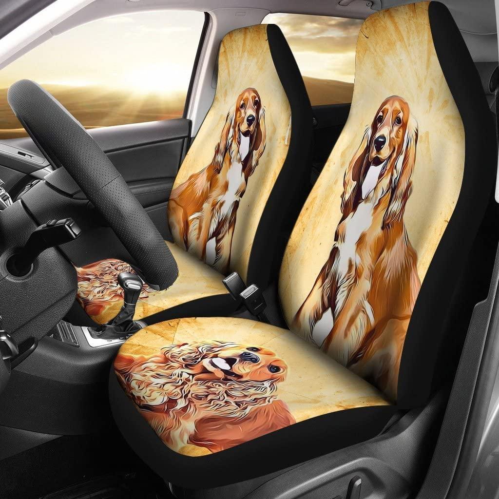 Cute Cocker Spaniel Dog Print Car Seat Covers