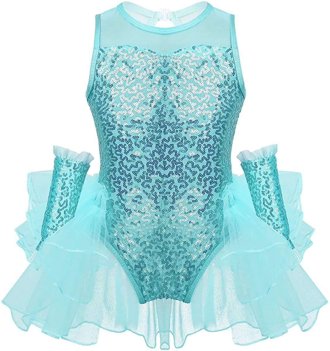 ACSUSS Kids Girls Shiny Sequins Ballet Tutu Dress Dancewear Tank Top Leotard Stage Performance Ballerina Dance Costume
