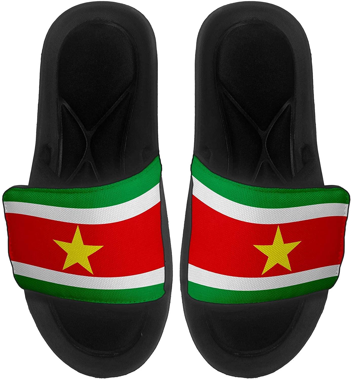 ExpressItBest Cushioned Slide-On Sandals/Slides for Men, Women and Youth - Flag of Suriname (Surinamer) - Suriname Flag