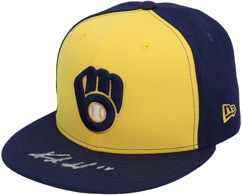 Keston Hiura Milwaukee Brewers Autographed Yellow and Navy New Era Cap - Fanatics Authentic Certified