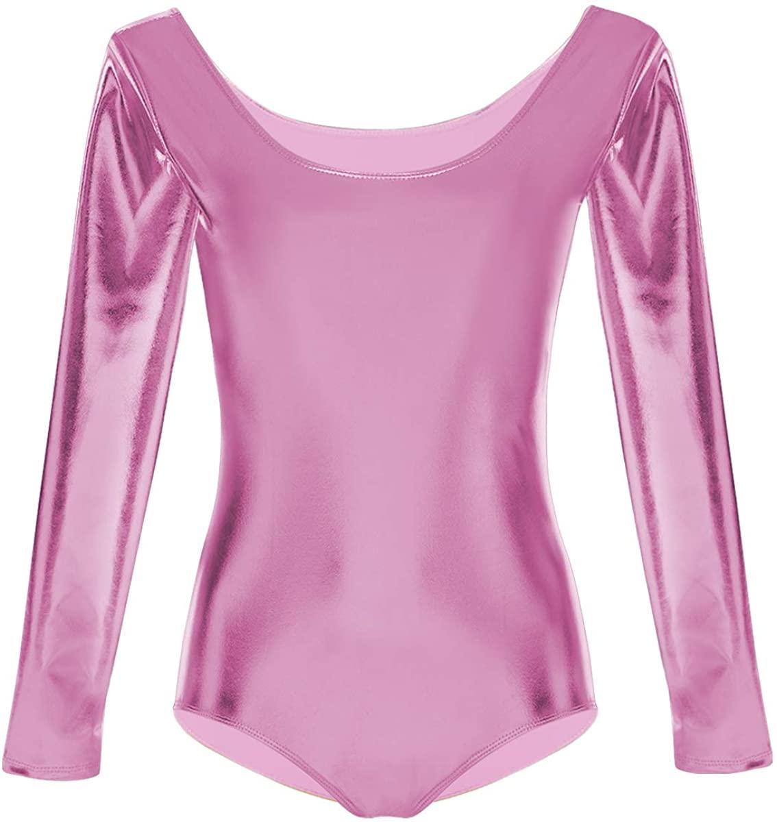 Kids Girls Metallic Leotard Gymnastics Ballet Dancewear Long Sleeve One-Piece Shiny Bodysuit Dance Competition Costume