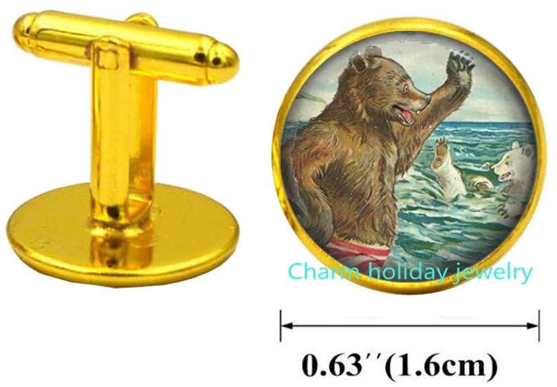 Bear Cuff Links Bear Cufflinks Wearable Art Jewelry Animal Cufflinks Bear Jewelry-#108