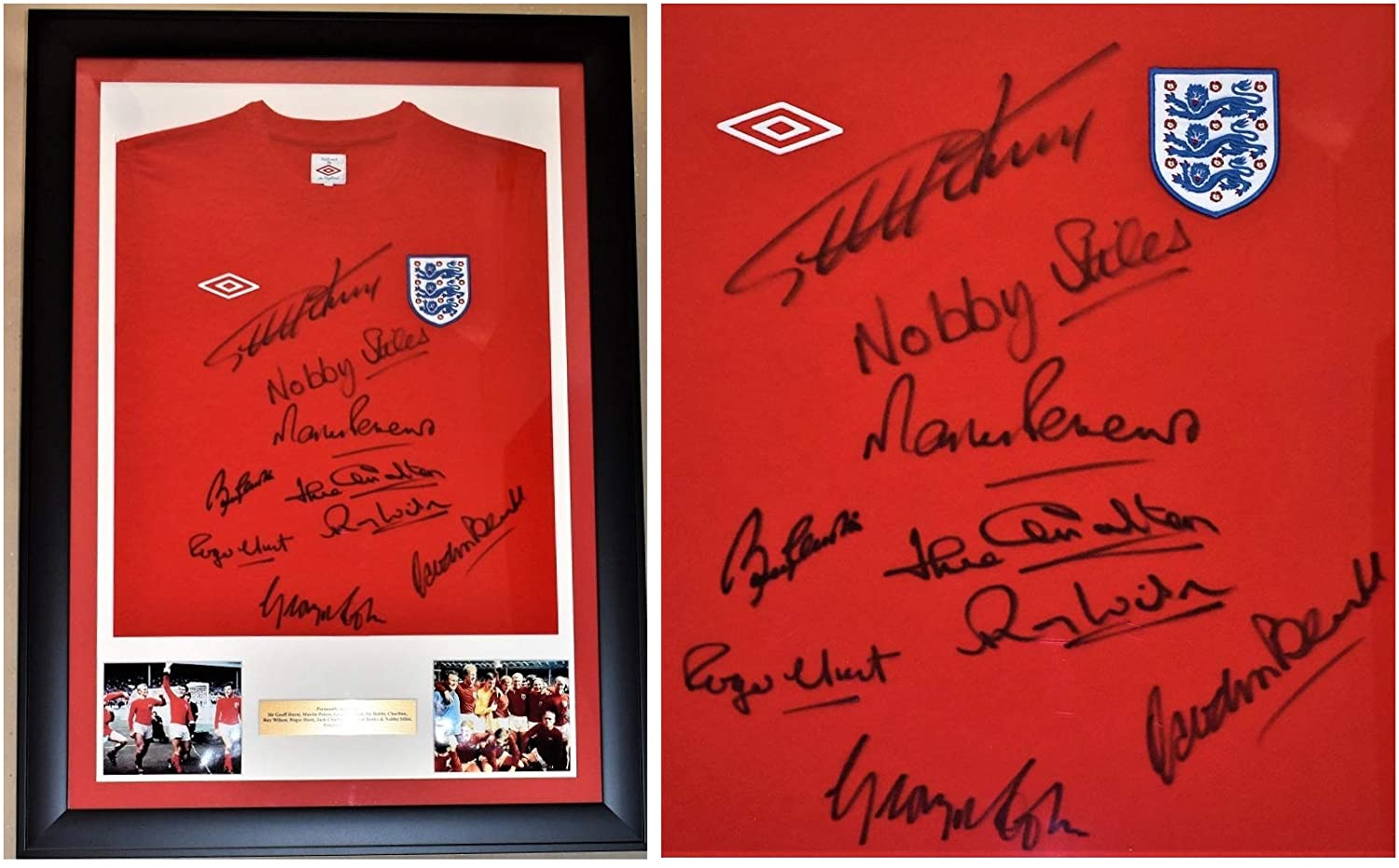 1966 World Cup Team Signed England Soccer Shirt - Jersey Autographed by 9 Footballers - Custom FRAMED