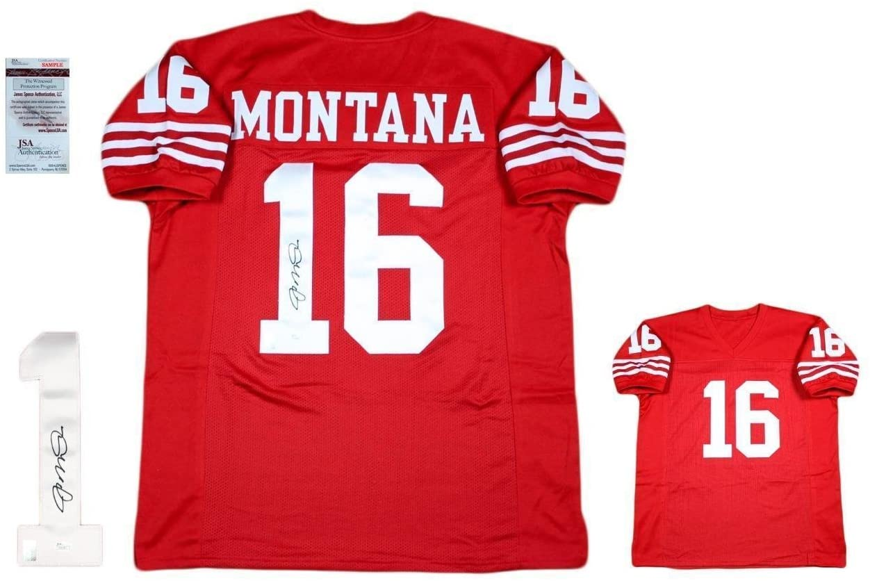 Joe Montana Autographed Jersey - Custom Red SF - JSA Certified - Autographed NFL Jerseys