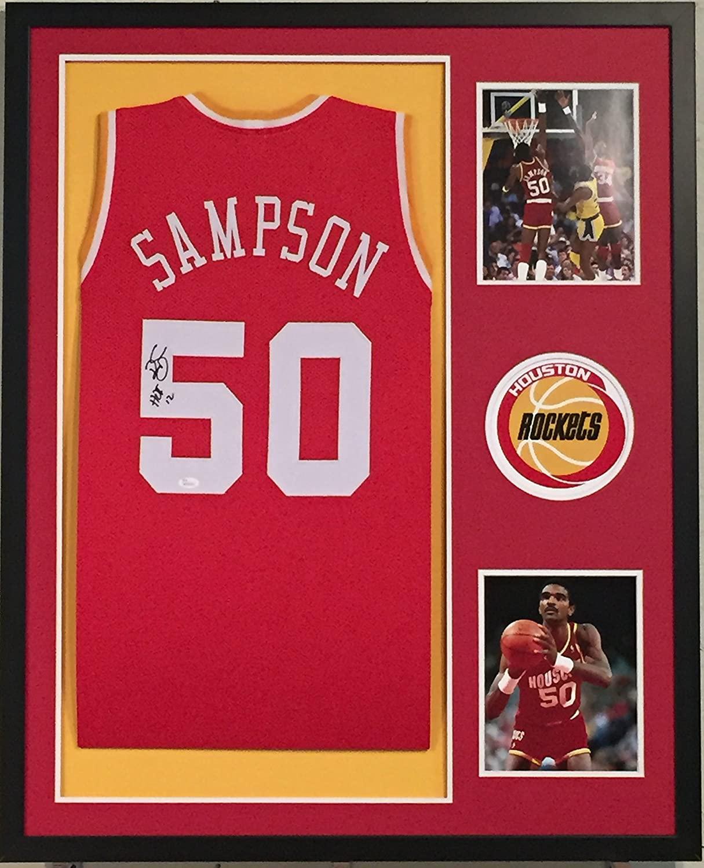 Ralph Sampson Autographed Custom Framed Houston Rockets Jersey JSA Witnessed COA