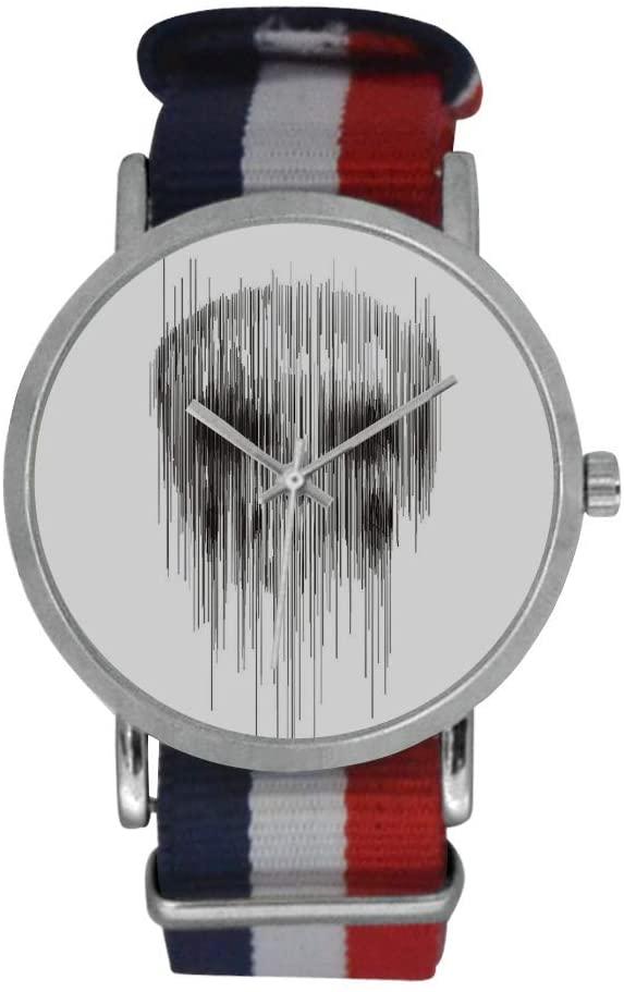 QUICKMUGS2U Skeleton Lines Men's Stainless Steel Classic Large Face Quartz Analog Business Wrist Watch Striped Nylon Band