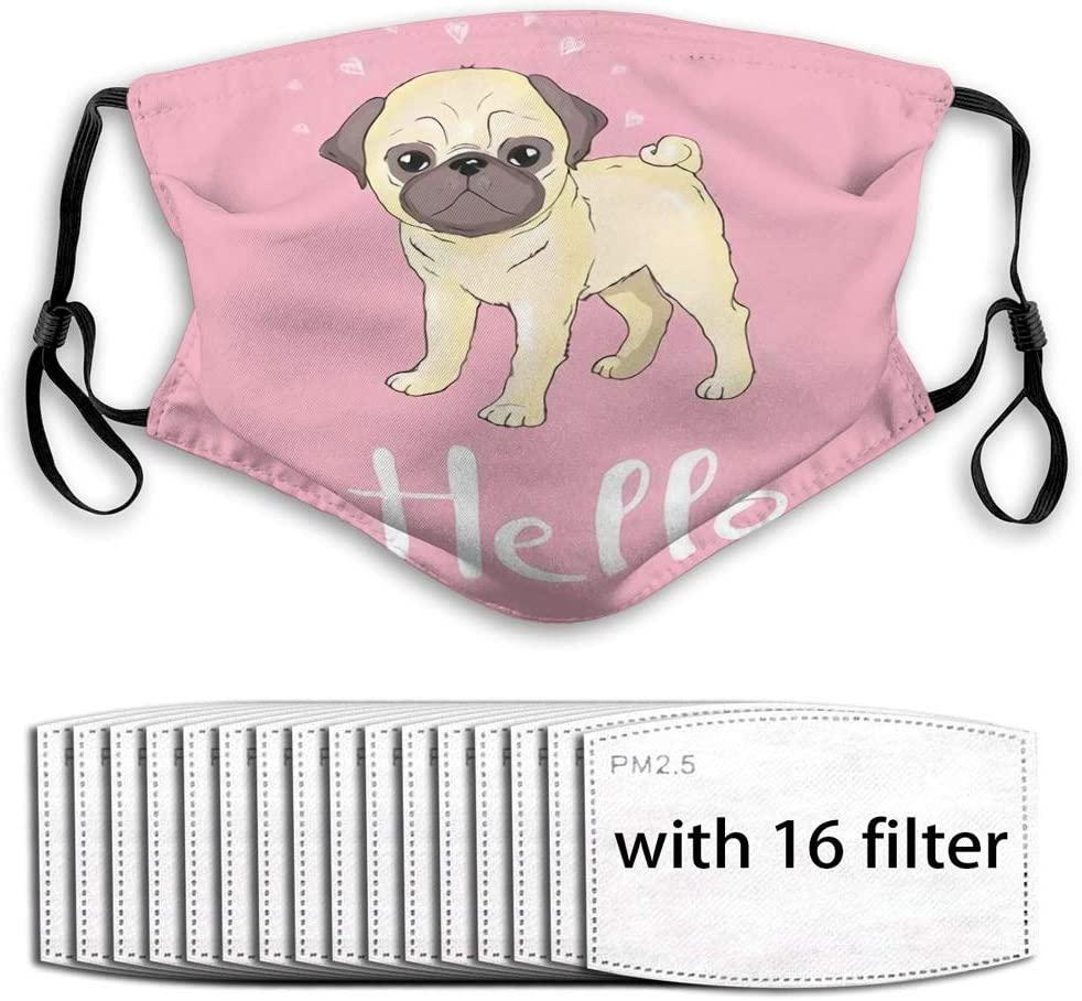 YILINGER Comfortable Earloop Mask (16 Filter) Pug Puppy Cute Dog Animal