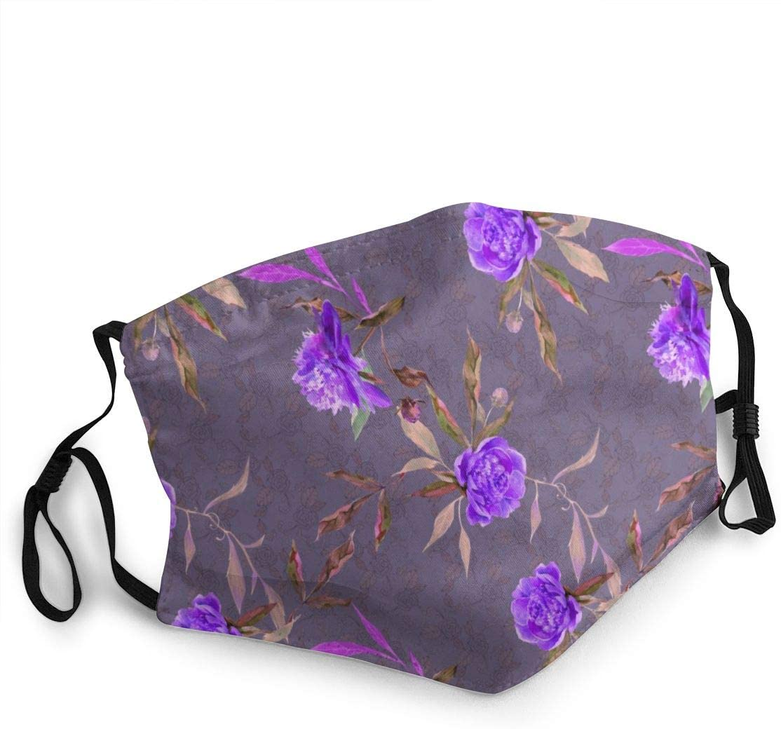 EJudge Peony On Violet Floral Flowers Mens and Womens Dust Face, Odor Proof, Cloth Fabric Washable and Reusable Face Cover Mouths Adult Unisex