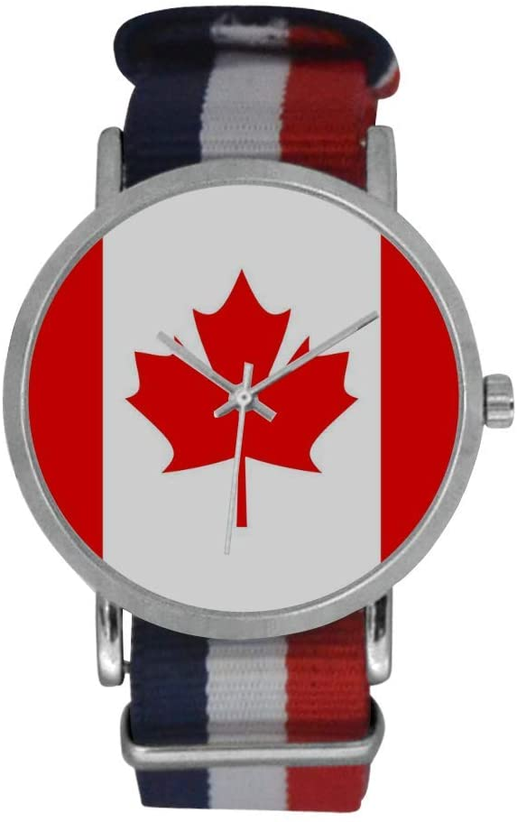 QUICKMUGS2U National Flag Series The Canadian Flag Men's Stainless Steel Classic Large Face Quartz Analog Business Wrist Watch with Striped Nylon Band