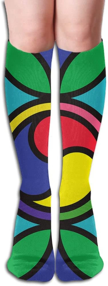MASDUIH Geometric Squares Graphics Knee High Crew Socks Knee High Stockings