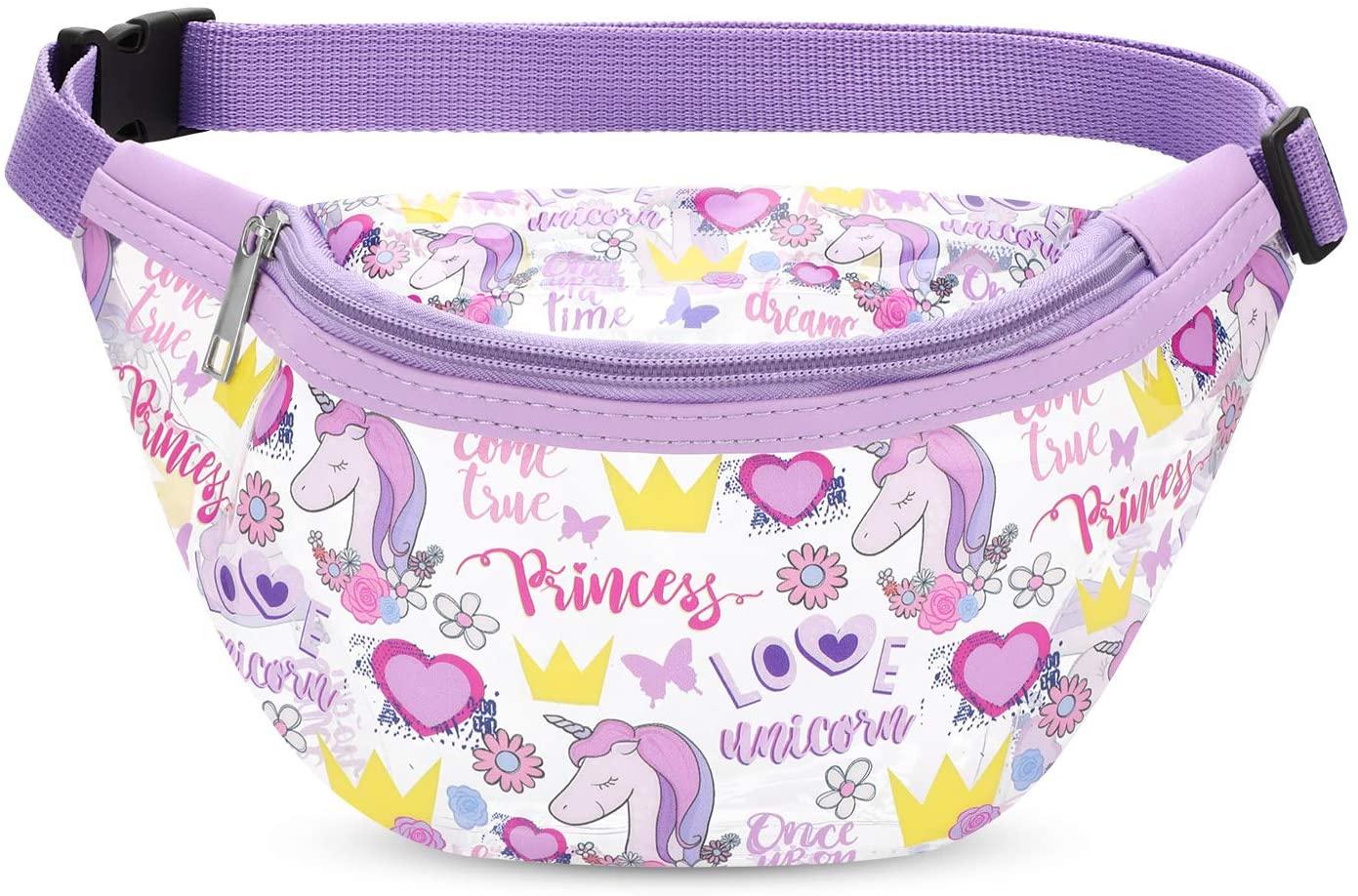 Qkurt Unicorn Sport Waist Bag, Girls Transparent PVC Money Hip Pouch Bum Bag Durable Waist Pouch Belt Bag for Walking Running Hiking Shopping