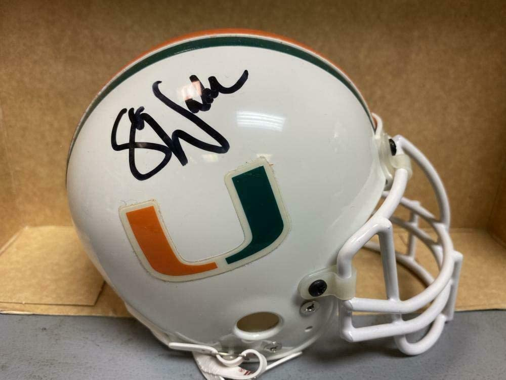 Steve Walsh Cortez Kennedy Hurricanes Signed Sharco Mini Helmet - Autographed College Mini Helmets