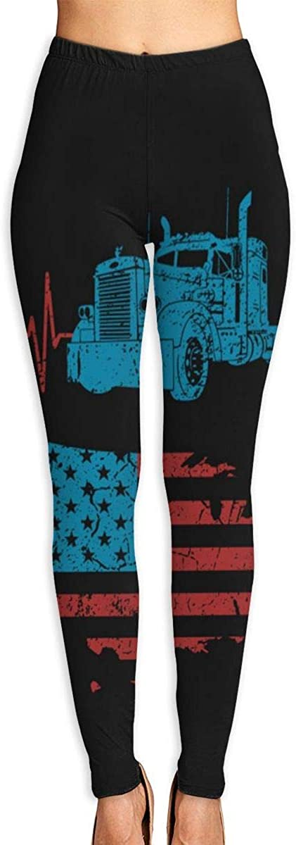Women's Yoga Pants Truck Driver Heartbeat American Flag Workout Stretchy Light Sport Leggings
