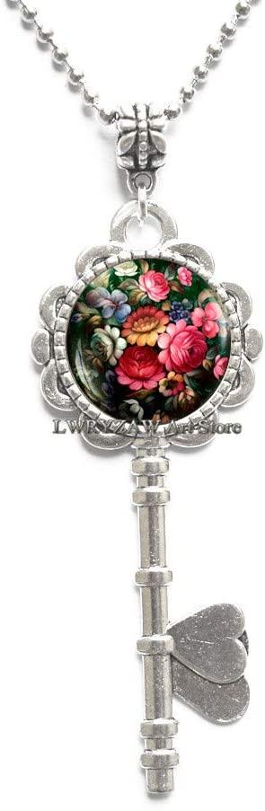 Zhostovo Flowers Key Necklace, Zhostovo Pendant, Russian Folk Jewelry, zhostovo Roses Flowers Pendant, Floral Art Pendant,M122