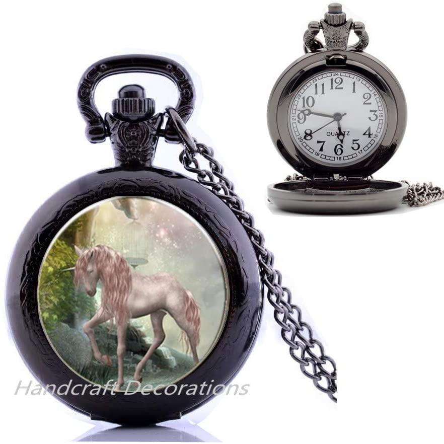 HandcraftDecorations Unicorn Pendant,Unicorn Pocket Watch Necklace,Unicorn Jewelry,Fantasy Art Gift,Unicorn Pocket Watch Necklace,Mythical Pocket Watch Necklace.F148