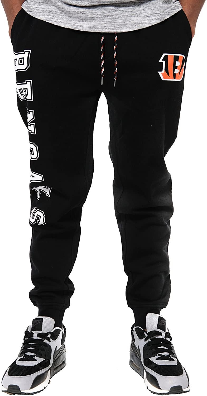 Ultra Game NFL Cincinnati Bengals Mens Jogger Pants Active Basic Fleece Sweatpants, Team Color, Small