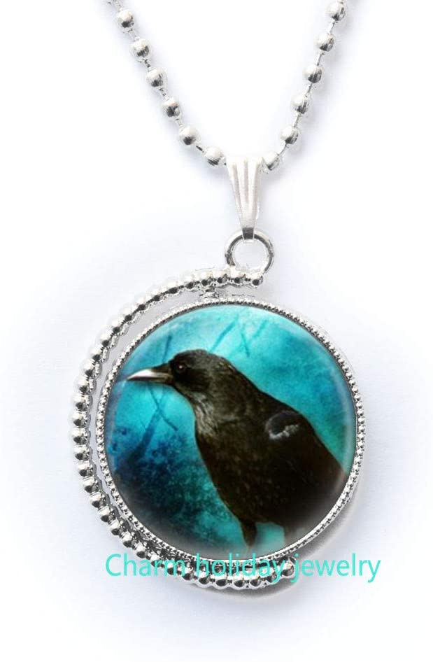Charm holiday jewelry Raven Necklace-Glass Necklace-Black Crow Necklace-Raven Glass Necklace,Glass Pendant Necklace,Jewellery-#181