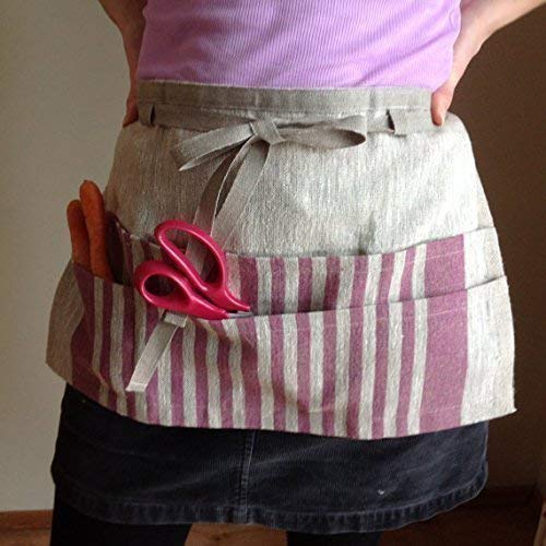 Half apron, linen, multicolor, gardening and utility, with pockets for tools,