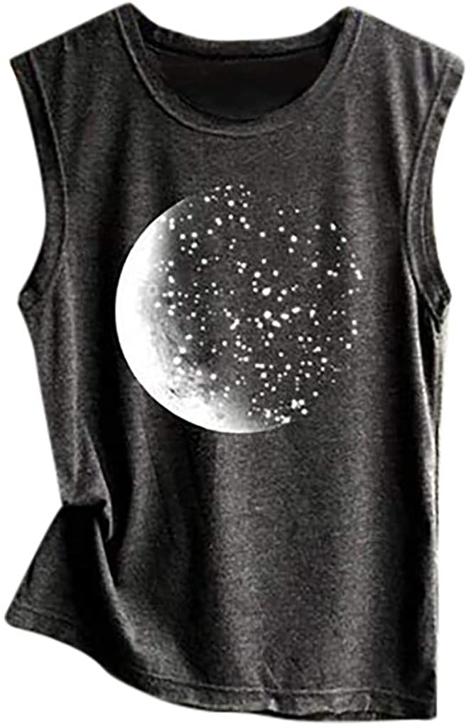 2DXuixsh Women Moon Phase Print Vest Casual Loose Top Sleeveless Tank Sport Pullover Tunic Punk Shirts Tops S-2XL
