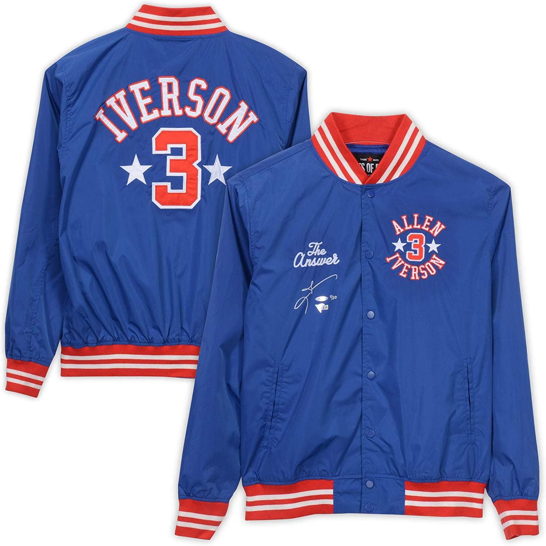Allen Iverson Philadelphia 76ers Autographed 2001 Roots of Fight Stadium Jacket - Upper Deck - Fanatics Authentic Certified