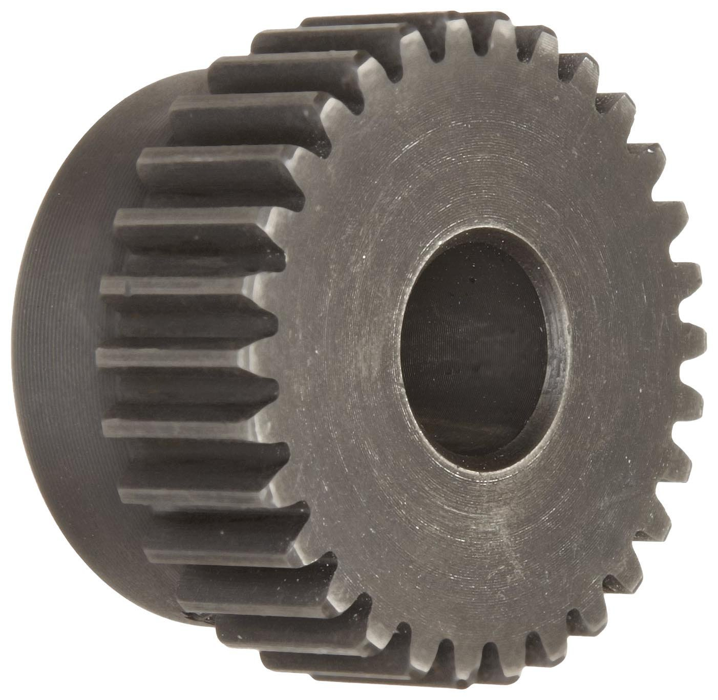 M1B51 Ametric Metric Minimum Plain Bore Steel Spur Gear with Hub, 1 Metric Module Tooth Profile, 51 Teeth, 20 Degree Pressure Angle, 53 mm Outside Diameter, 40 mm Hub Diameter, 12 +/-1mm Pilot Bore, 15 mm Tooth Face Width, (Mfg Code 1-025)