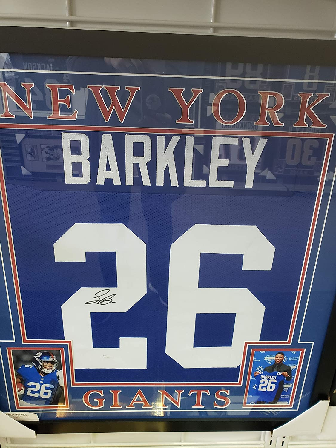 Saquon Barkley - NY Giant Autographed Framed Jersey with Two 8x10 Photos
