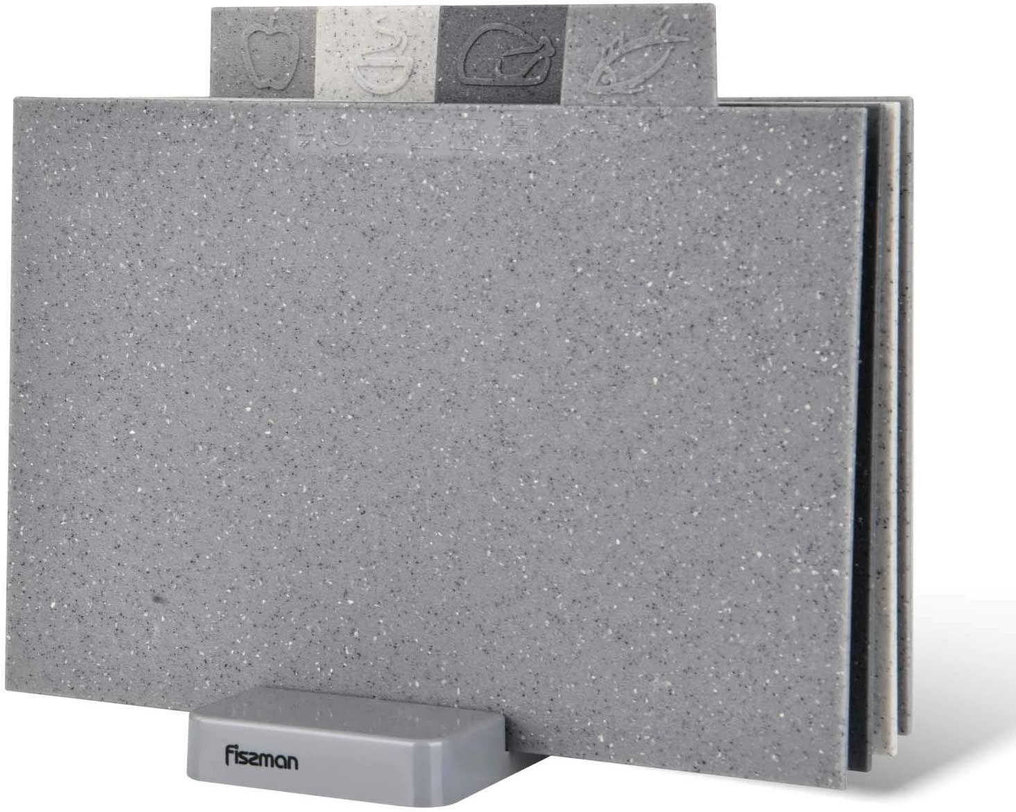 Fissman Anti Bacterium Plastic Cutting Board Non-slip Marble Coating Plastic Mats with Stand