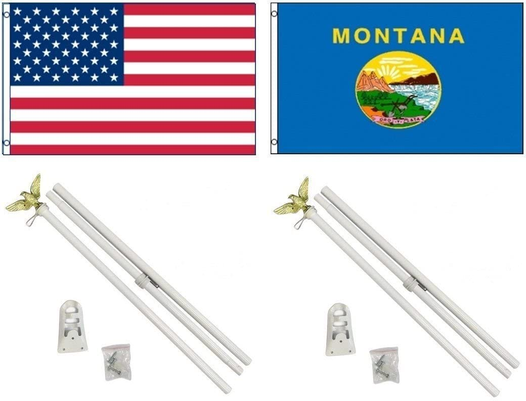AES 3x5 3x5 USA American w/State of Montana Flag w/Two 6 White Flagpole Pole Kits Eagle Topper