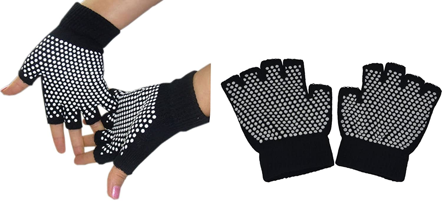 Fingerless Exercise Non Slip Yoga Pilates Gloves with Silicone Dots