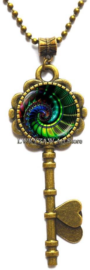 Fractal Key Necklace Fractal Jewelry Fractal Photo Jewelry,Fractal Pendant, Fractal Art Pendant Key Necklace,Fibonacci Pendant, Sacred Geometry, Men's Jewelry,M174