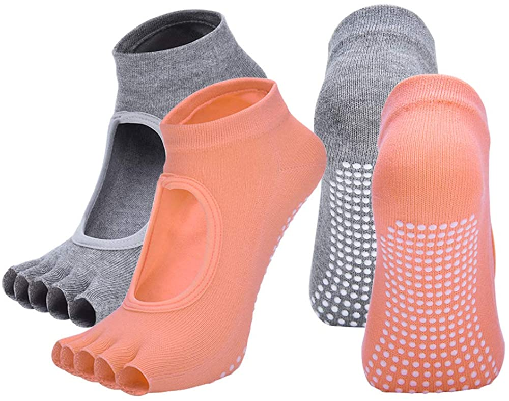 2 Pairs Toeless Yoga Socks Non-Slip Grips for Pilates Ballet Dance Barefoot Workout Cotton Open Toe Women Sports Socks