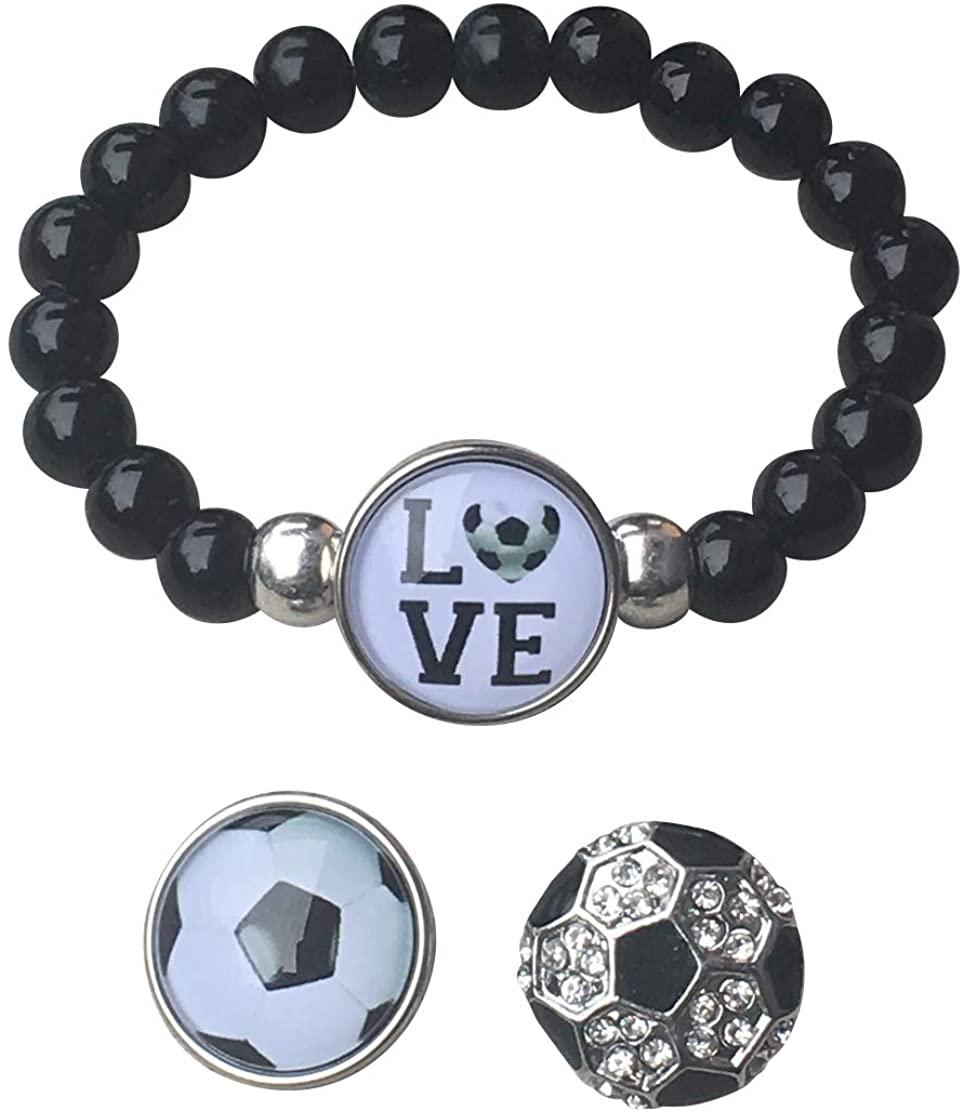 Soccer Interchangeable Snap Charm Bracelet- Beaded Soccer Jewelry for Soccer Players