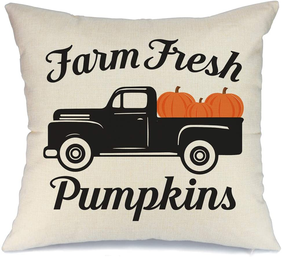AENEY Fall Truck and Pumpkin Throw Pillow Cover 18 x 18 for Couch Thanksgiving Decorations Farmhouse Home Decor Autumn Decorative Pillowcase Faux Linen Cushion Case for Sofa