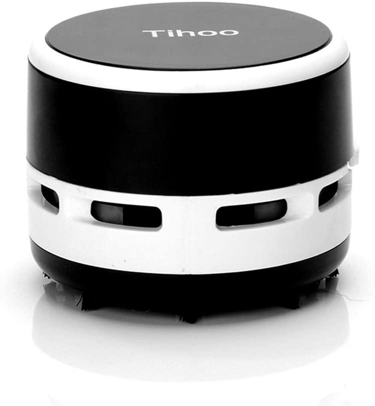 Tihoo Mini Portable Desktop Dust Vacuum Cleaner Keyboard Laptop Table Multifunction Cleaning for Home Office Car (Black)