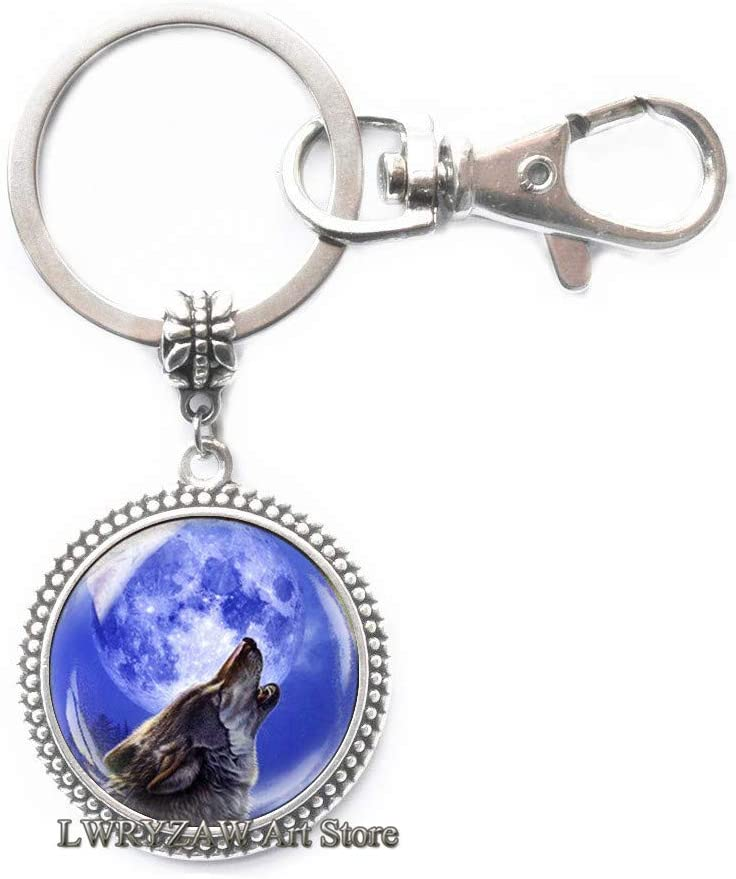 Blue Moon Howling Wolf Keychain, Wolf and Moon Key Ring, Blue Moon Keychain, Howling Wolf Key Ring, Wolf Jewelry, Mens Keychain,M70