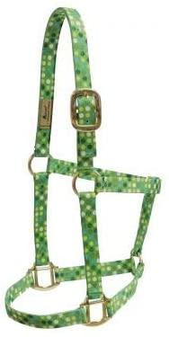 SHILOH Accent Premium Nylon Green Polka dot Halter - Yearling