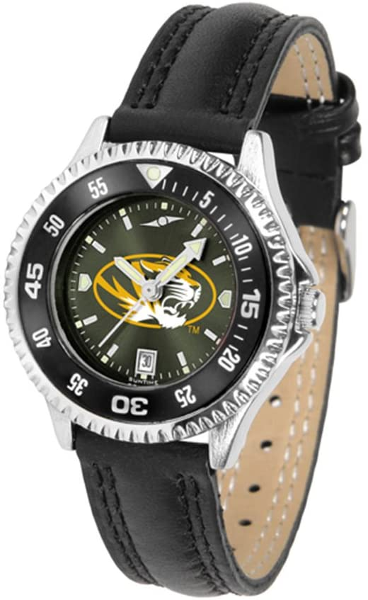 SunTime Missouri Tigers Competitor Ladies AnoChrome Watch with Leather Band and Colored Bezel