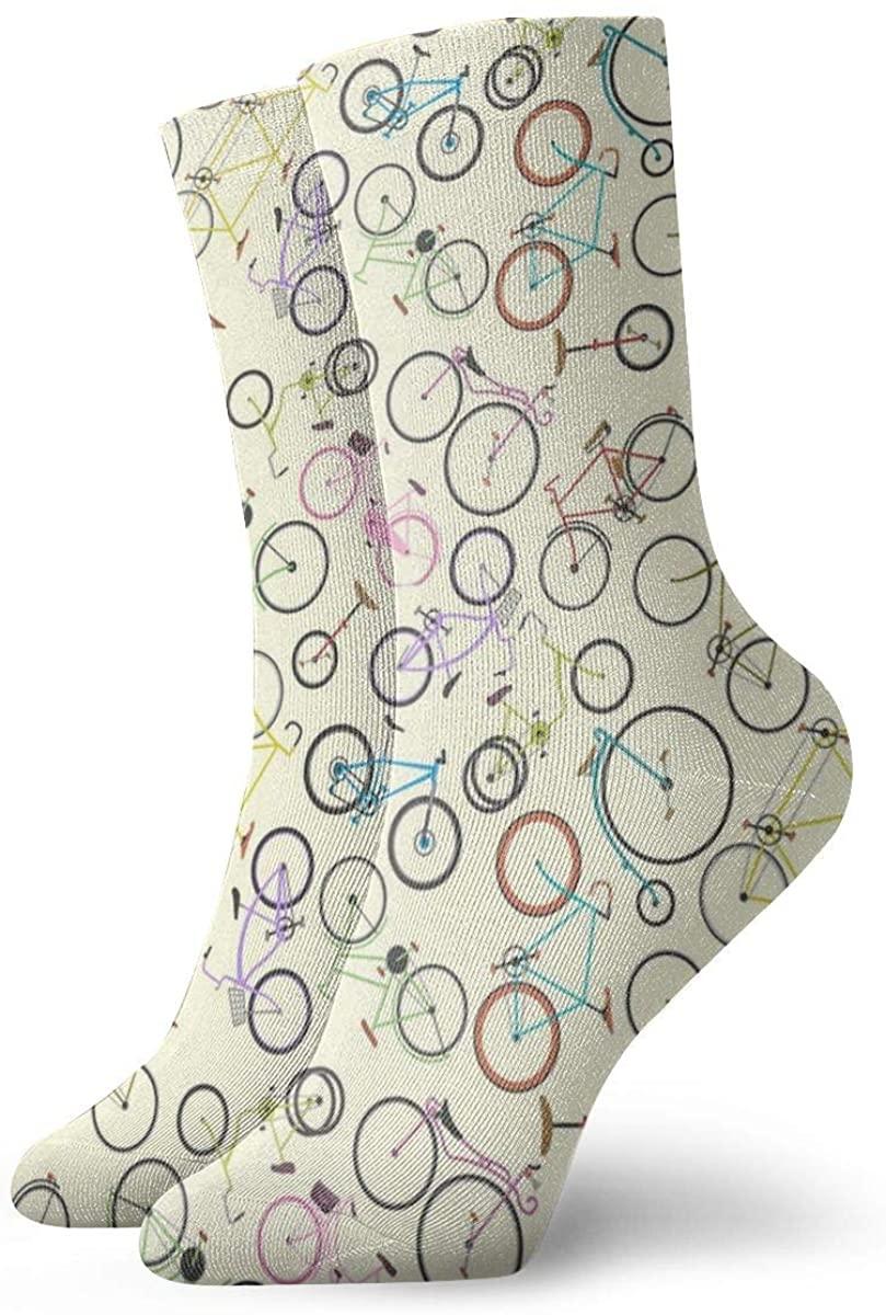 Retro Bike Pattern. Performance Sock Athletic Crew Short Socks Outdoor Socks