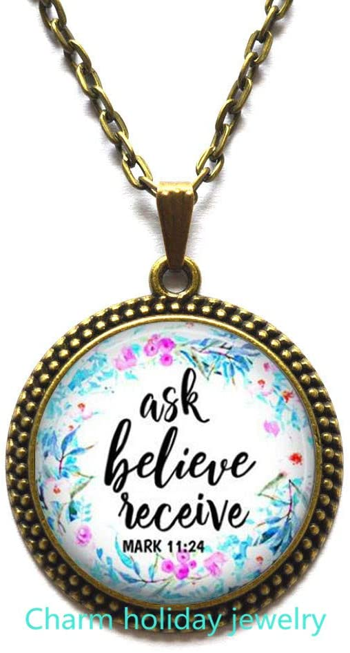 Scripture Necklace,Christian Jewelry,Bible Verse Pendant,Ask Believe Receive,Mark 11:24,Quote Necklace,Christian Gift,Unique Gift-#20