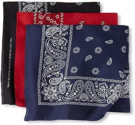 100% Cotton Bandanas for Men & Women - Paisley Bandana Head Wrap, Scarf 3 Pack