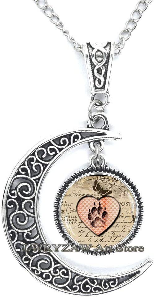 Cat paw Necklace, Cat Paw Pendant, Paw Necklace, Cat Lover Necklace, Cat Lover Gift, Cat Lover Jewelry, Glass Dome Pendant,M109