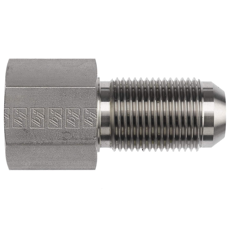 Brennan Industries 2705-04-04-SS Stainless Steel Bulkhead Straight Tube Fitting, 1/4-18 NPTF x 7/16-20 SAE Thread, 1/4 Female NPTF x 1/4 Male JIC