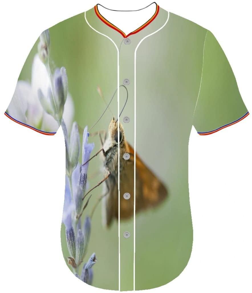 Fouasi 3D Printing Customized Men Button Front Shirt Round Collar Baseball Jerseys 3d printed long sleeve shirts jerseys Butterfly itr