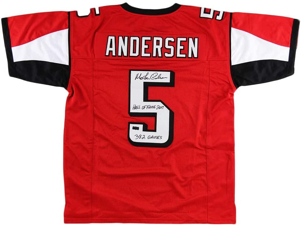 Morten Andersen Autographed/Signed Atlanta Custom Red Jersey with