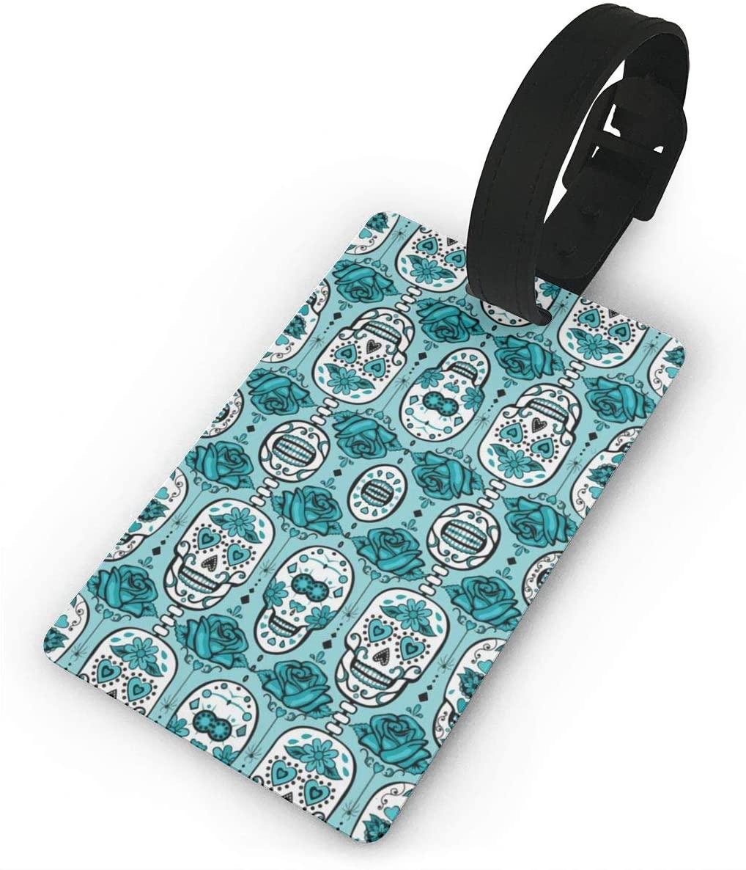 Field Rain Turquoise Sugar Skulls Fashion Luggage Tag PVC Travel ID Suitcases Label For Bag