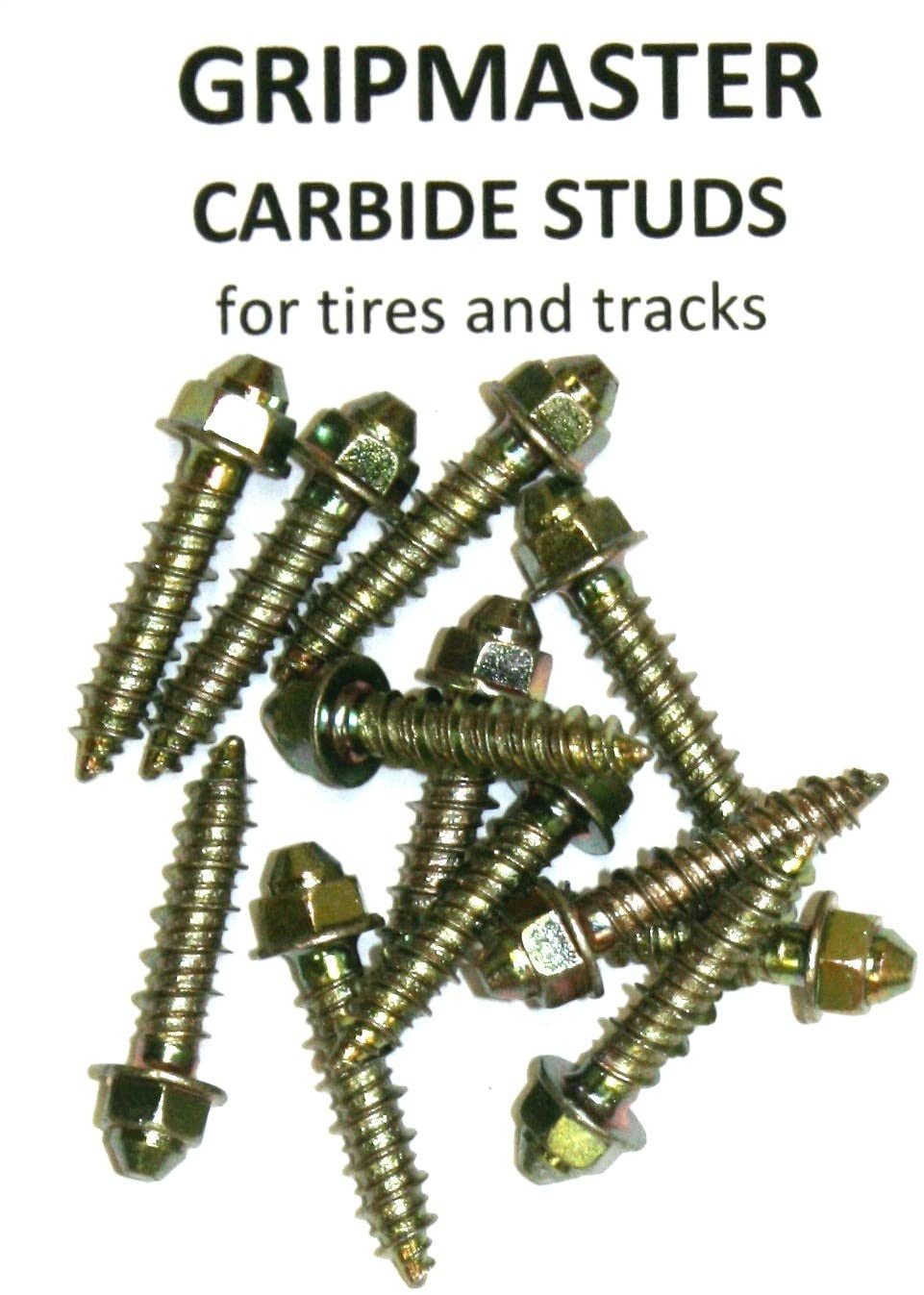 INS Products, GRIPMASTER Carbide Track and TIRE Studs w/Tool - 1 inch Length, Improves Traction, Carbide Strength, for Cars, Trucks, Skidsteers, Loaders & Tractors, 100-250 - 500 Packs