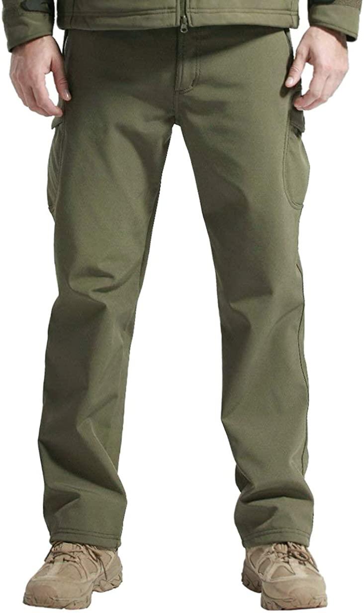 EXEKE Men's Thermal Hiking Pants Waterproof Ski Pants with Fleece Lined