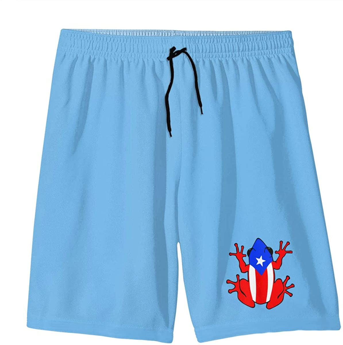 Puerto Rico Flag Frog Teens Swim Trunks Beach Shorts Surfing Board Quick Dry Bathing Suit