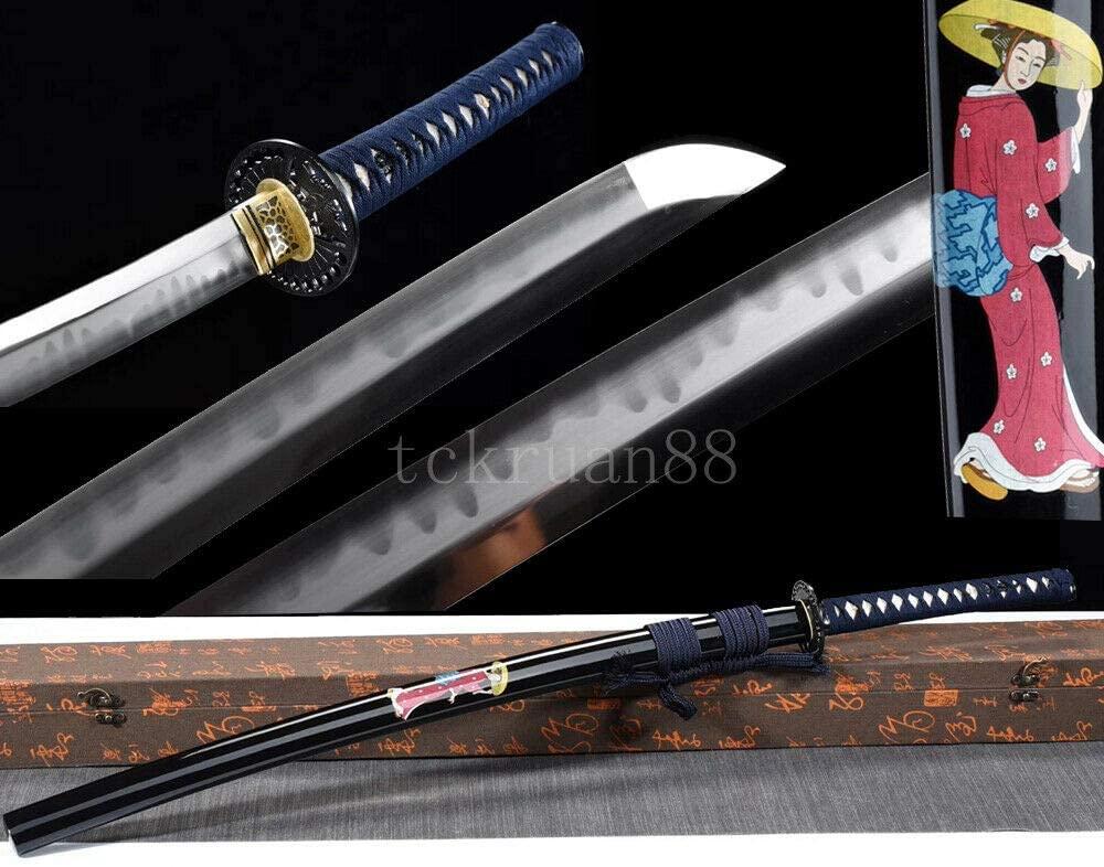 YL Sword Katana Hand Forged Clay Tempered Japanese Samurai Sword Full Tang Sharp Blade